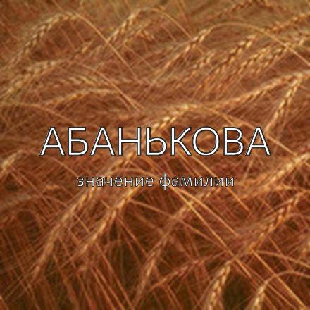 Происхождение фамилии Абанькова