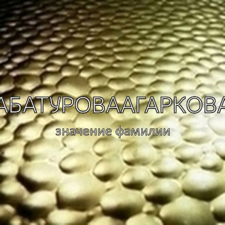 Происхождение фамилии Абатуроваагаркова
