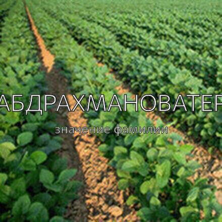 Происхождение фамилии Абдрахмановатер