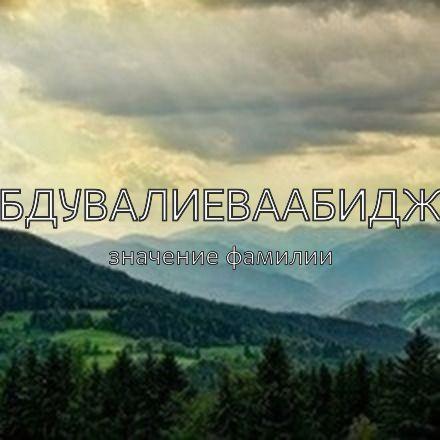 Происхождение фамилии Абдувалиеваабиджа