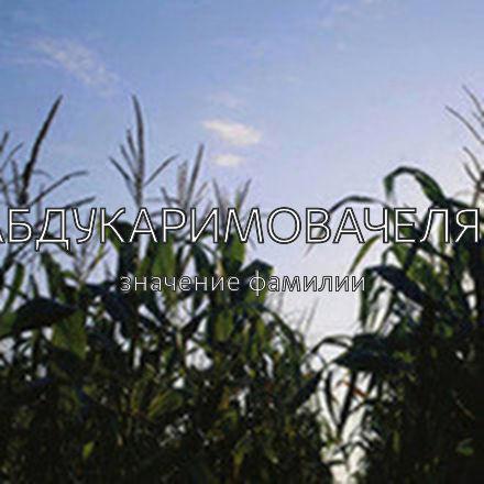 Происхождение фамилии Абдукаримовачеляб