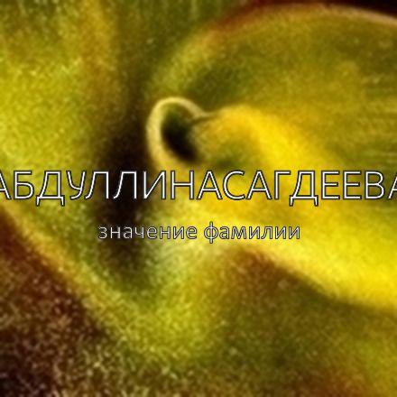 Происхождение фамилии Абдуллинасагдеева
