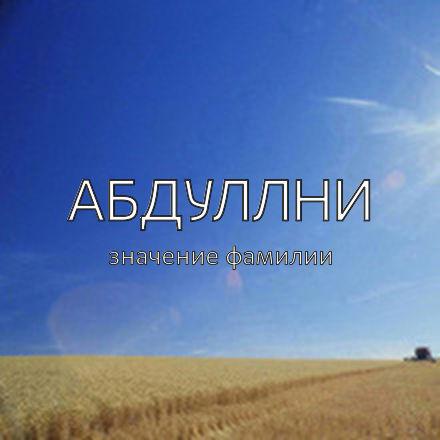 Происхождение фамилии Абдуллни