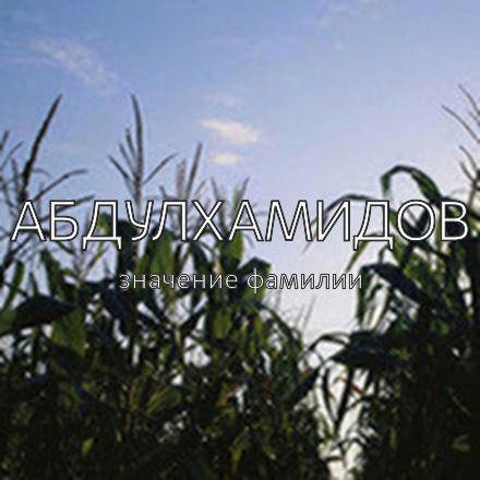 Происхождение фамилии Абдулхамидов