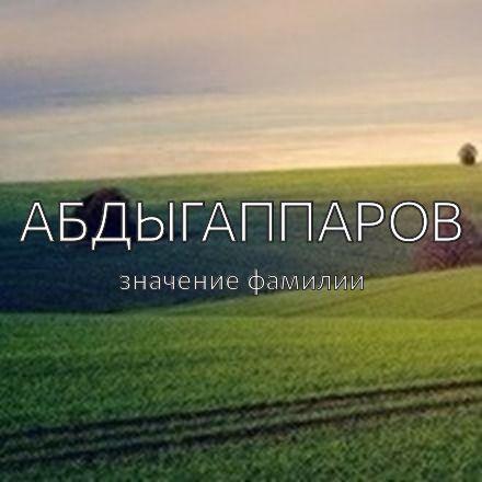 Происхождение фамилии Абдыгаппаров