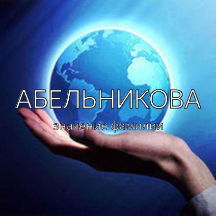 Происхождение фамилии Абельникова