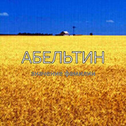 Происхождение фамилии Абельтин