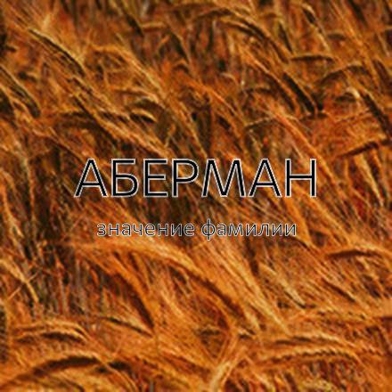Происхождение фамилии Аберман