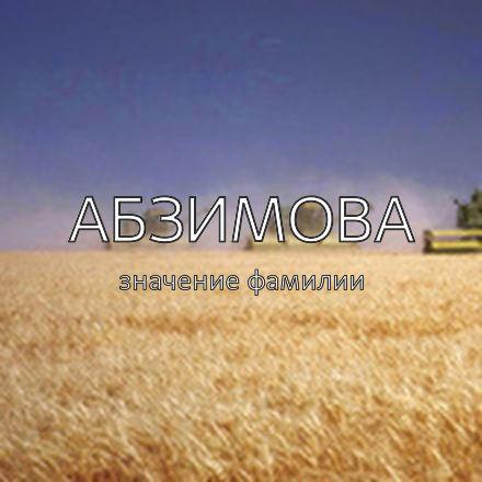 Происхождение фамилии Абзимова