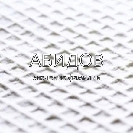 Происхождение фамилии Абидов