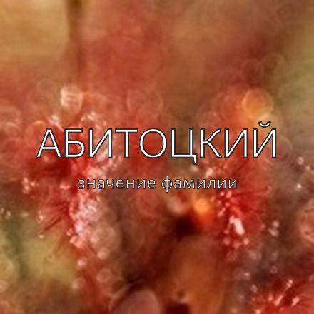 Происхождение фамилии Абитоцкий