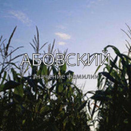 Происхождение фамилии Абовский