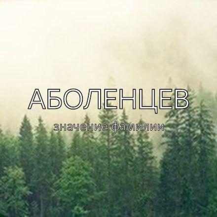 Происхождение фамилии Аболенцев
