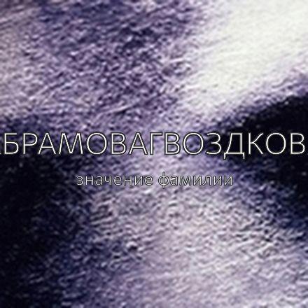 Происхождение фамилии Абрамовагвоздкова