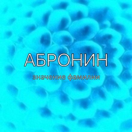 Происхождение фамилии Абронин