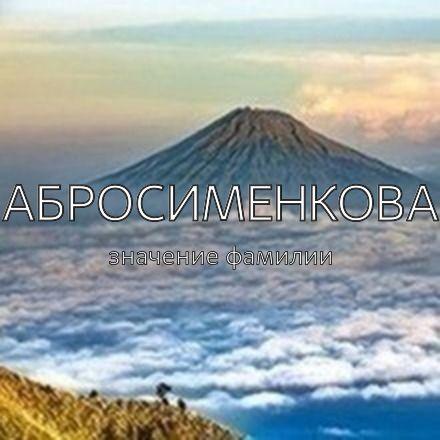 Происхождение фамилии Абросименкова