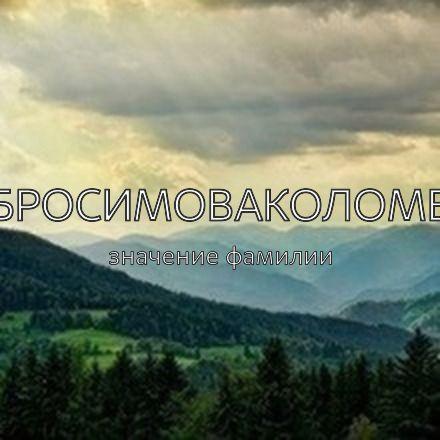 Происхождение фамилии Абросимоваколомен