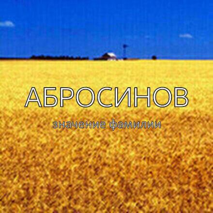 Происхождение фамилии Абросинов