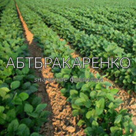 Происхождение фамилии Абтбракаренко