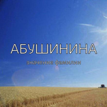 Происхождение фамилии Абушинина