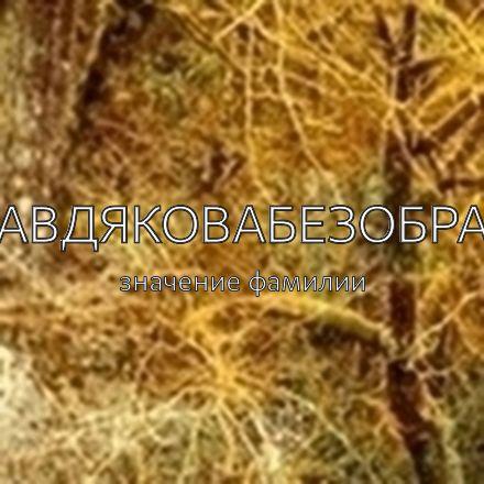 Происхождение фамилии Авдяковабезобра