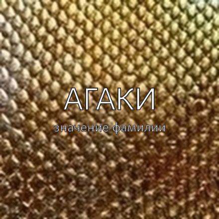 Происхождение фамилии Агаки