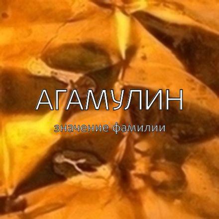 Происхождение фамилии Агамулин