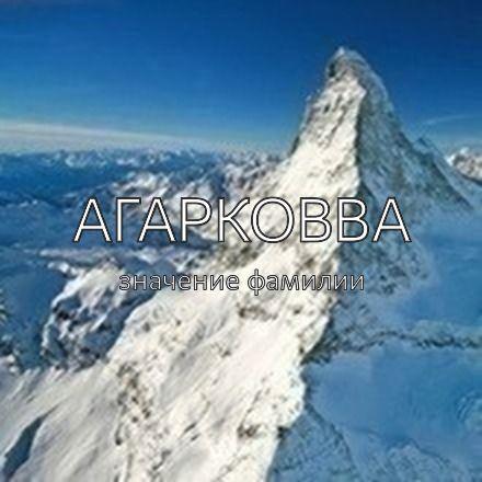 Происхождение фамилии Агарковва