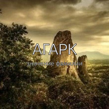 Происхождение фамилии Агарк
