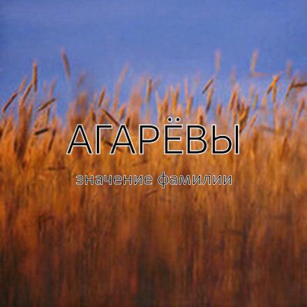 Происхождение фамилии Агарёвы
