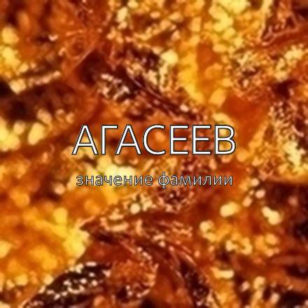 Происхождение фамилии Агасеев