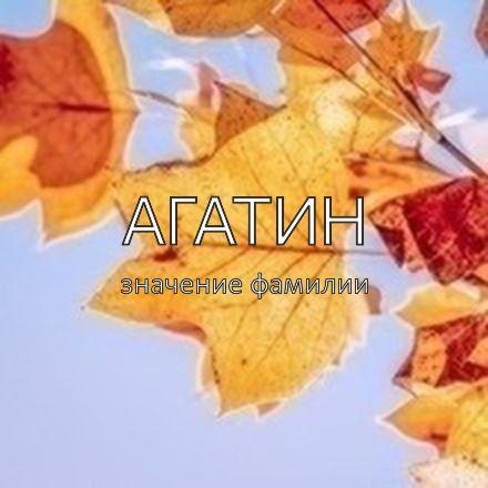 Происхождение фамилии Агатин