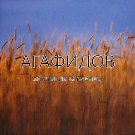 Происхождение фамилии Агафидов