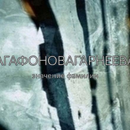 Происхождение фамилии Агафоновагарнеева