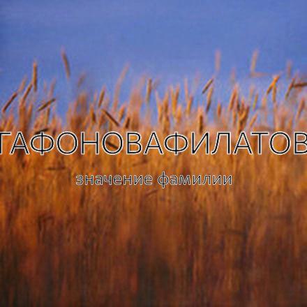 Происхождение фамилии Агафоновафилатова