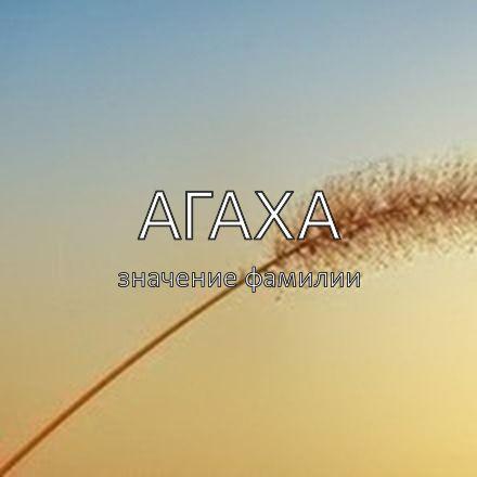 Происхождение фамилии Агаха