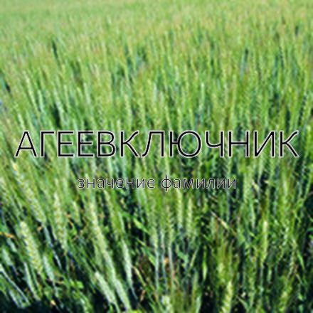 Происхождение фамилии Агеевключник
