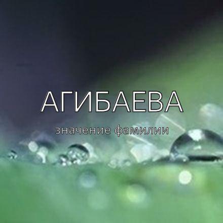 Происхождение фамилии Агибаева