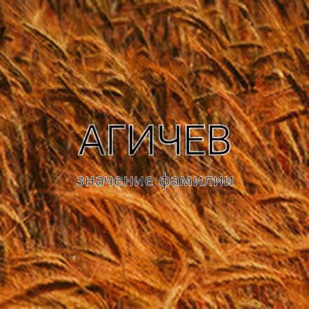 Происхождение фамилии Агичев