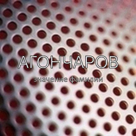 Происхождение фамилии Агончаров