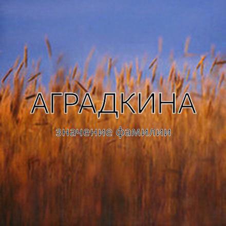 Происхождение фамилии Аградкина
