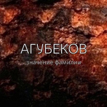 Происхождение фамилии Агубеков