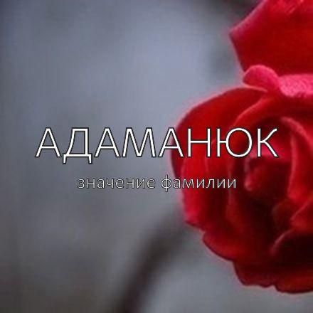 Происхождение фамилии Адаманюк