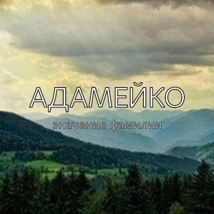 Происхождение фамилии Адамейко