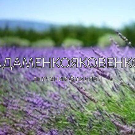 Происхождение фамилии Адаменкояковенко