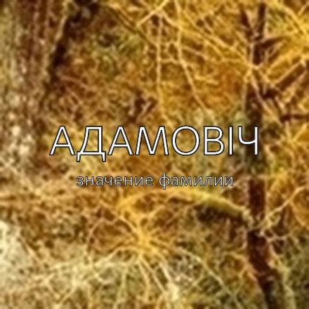 Происхождение фамилии Адамовіч