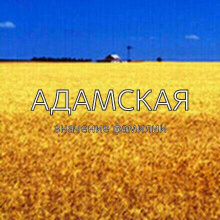 Происхождение фамилии Адамская