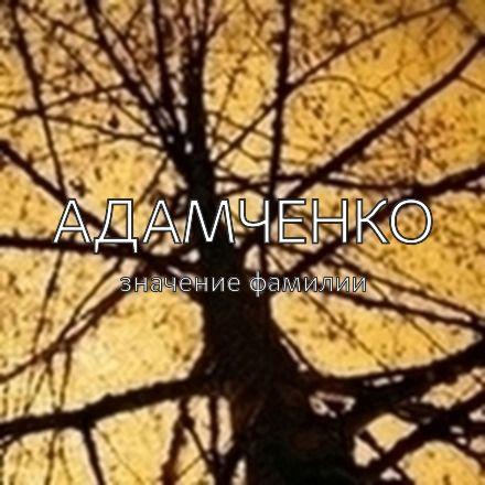 Происхождение фамилии Адамченко