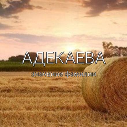 Происхождение фамилии Адекаева