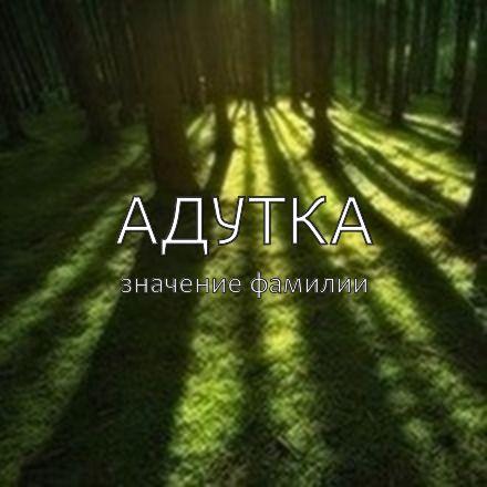 Происхождение фамилии Адутка